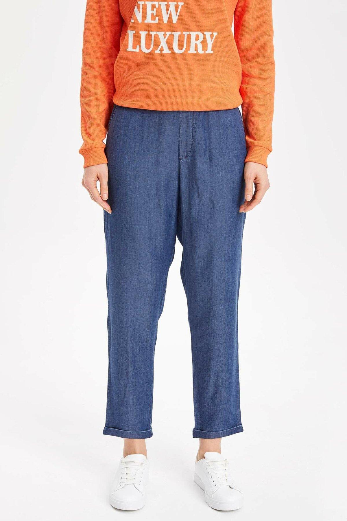 DeFacto Fashion Women Blue Elastic Waist Trousers Solid Casual Harem Pants Ladies Loose Cargo Pants Female-K4691AZ19SP