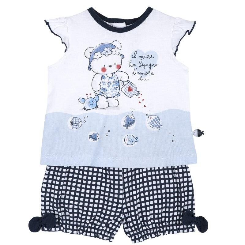 Set T shirt and shorts Chicco, size 086, print bear (white-blue-black) plus size letter print striped t shirt