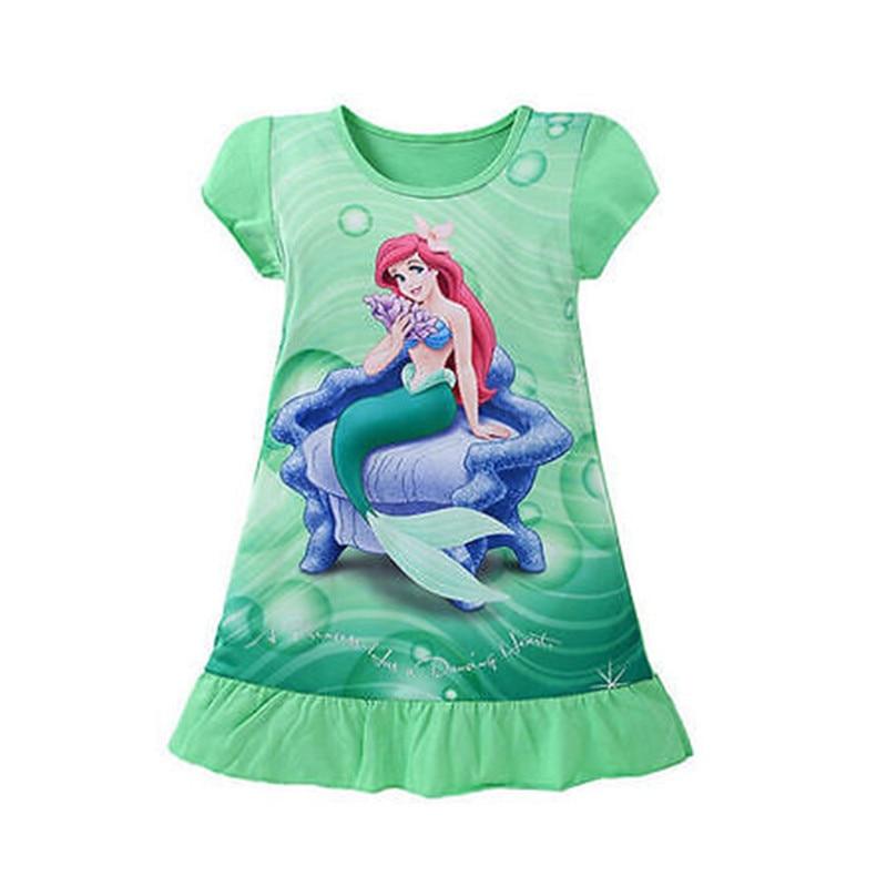 New 3-10Y Lovely Kids Girls Children Clothes Short Sleeve Cartoon Mermaid Princess Dress Summer Girls Dress