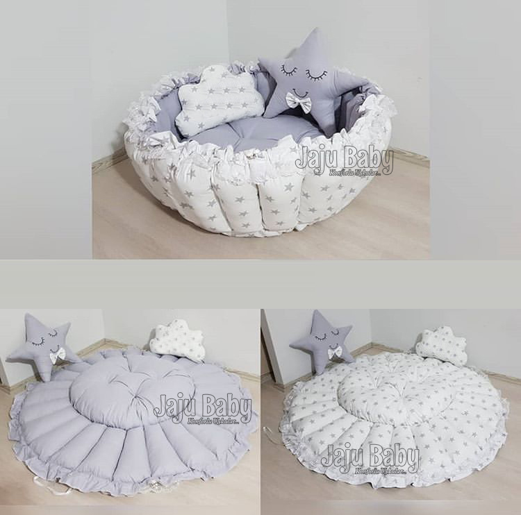 Jaju Baby Gray Star Design Retractable Play Mat Baby Nest