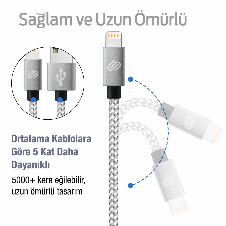 QWERTS Apple iPhone USB Fast Charge e Cavo di Dati 1 Metro Intrecciato Cavo di Fulmine