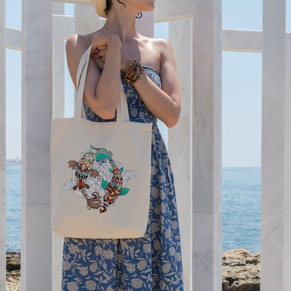Angemiel Bag Colorful Fish Gemini Zodiac Cloth Bag