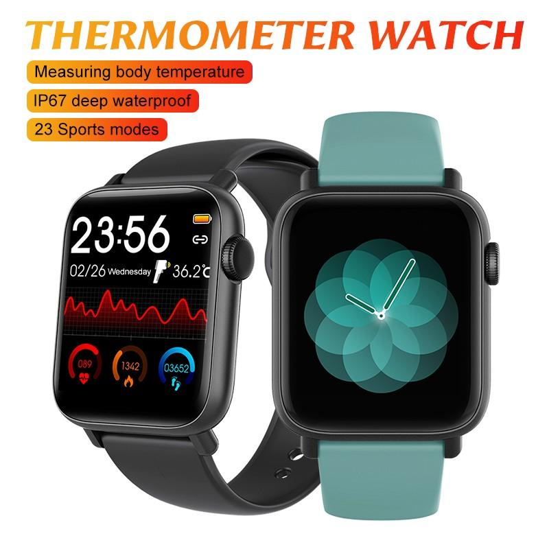 1,54 zoll Full Touch Bildschirm Smart Uhr <font><b>Thermometer</b></font> Fitness Armband Tracker Luxus <font><b>Design</b></font> Smartwatch Mit Herz Rate Monitor image
