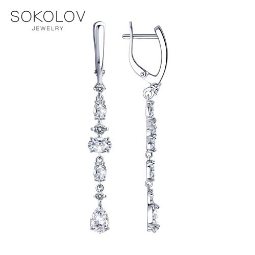 SOKOLOV Silver Drop Earrings With Stones With Stones With Stones With Cubic Zirconia Fashion Jewelry Silver 925 Women's/men's, Male/female