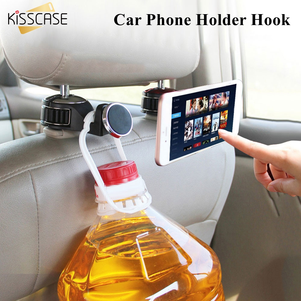KISSCASE Magnetic Car Phone Holder Mobilephone Stand Magnet For Phone Accessories Hook Rear Seat Mount Universal  Mobile Stand