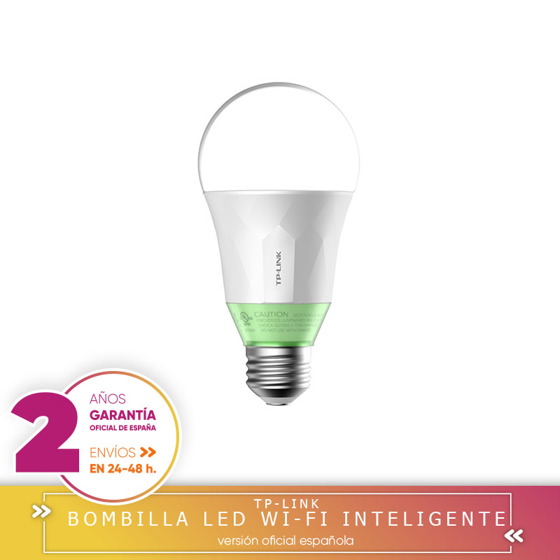 -Plaza Garantía- TP-LINK Bombilla Smart Home Led Wifi Inteligente Con Luz Regulable LB110 [Clase de eficiencia energética A+] Luces LED de pared para fiesta o Dj, 24 LEDs de Disco UV, Color Wash, luces LED de pared para Navidad, proyector láser, luces de pared