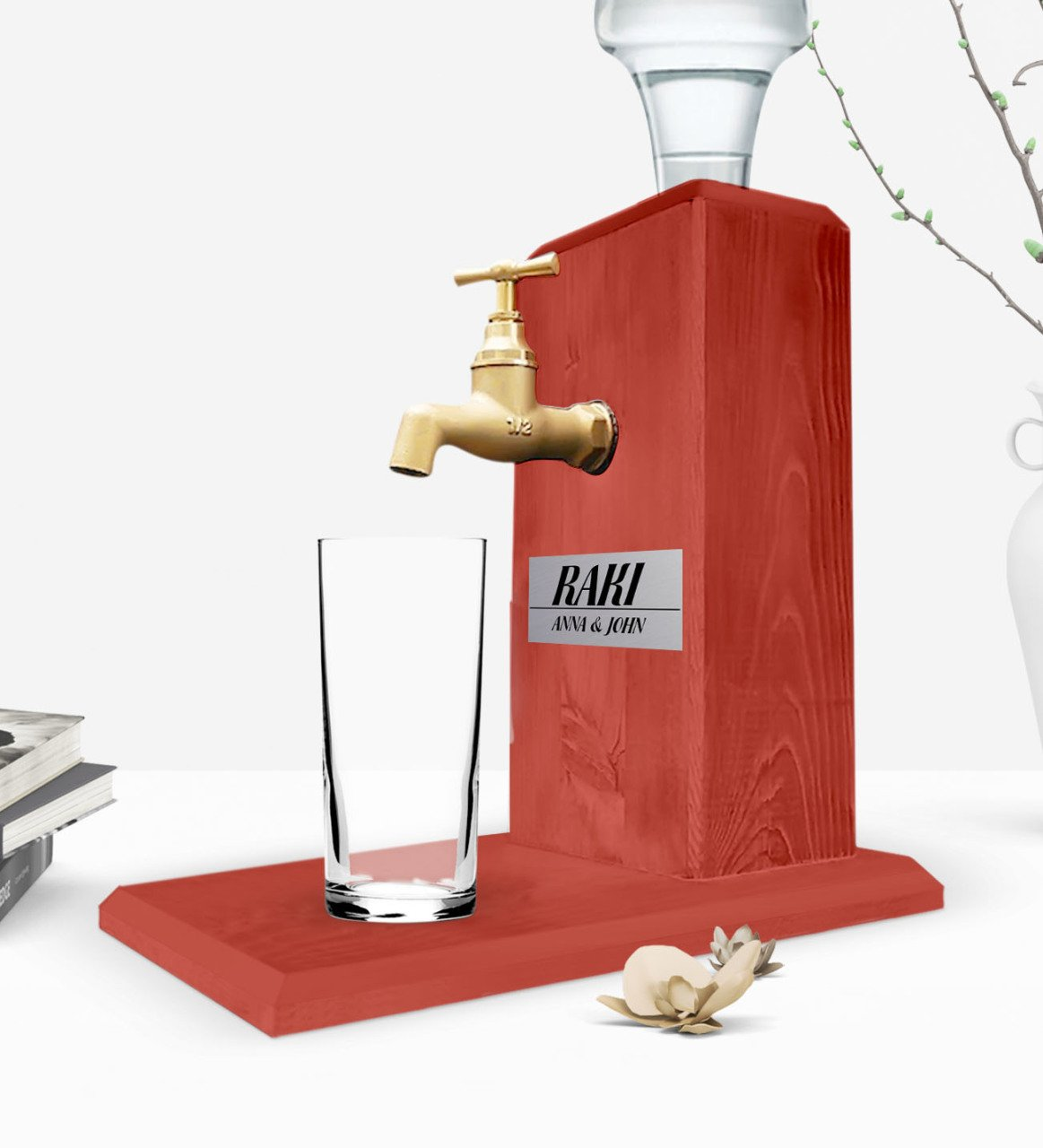 Custom Wooden Natural Rack Stand with Tap - Tile Red