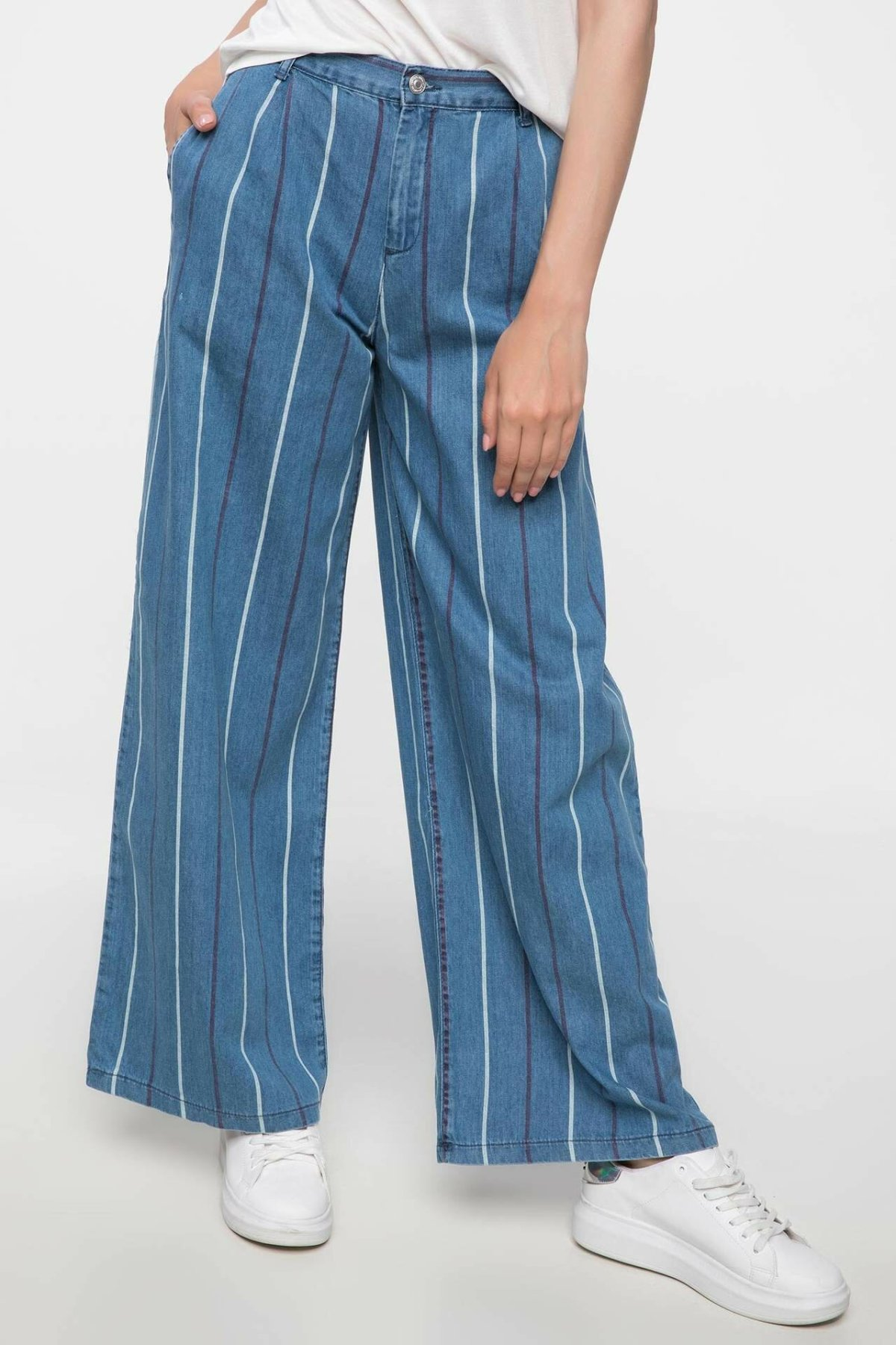 DeFacto Woman Summer Wide-leg Long Pants Women Striped Blue Color Bottoms Female Loose Adjustable Trousers-J3482AZ18HS