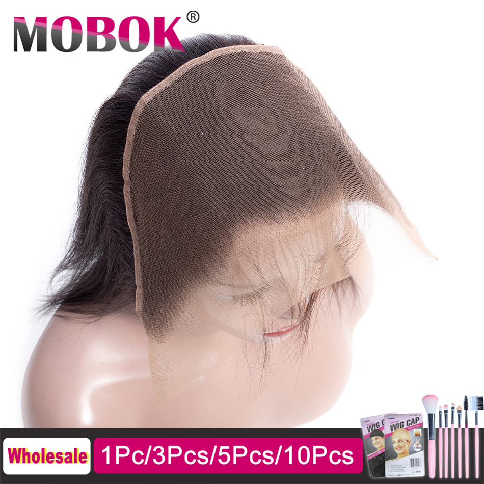 Mobok Lace-Frontal-Closure Human-Hair Free-Part Pre-Plucked Remy Straight 13x6 Brazilian title=