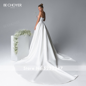 Image 3 - Elegant 2 In 1 Satin A Line Wedding Dress Illusion Court Train Princess BE CHOYER EL01 Bride Gown Customized Vestido de Noiva