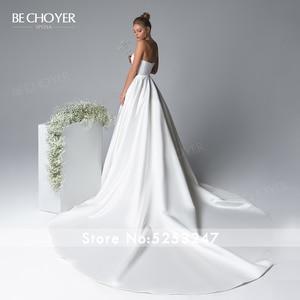 Image 3 - Zarif 2 In 1 saten A Line düğün elbisesi Illusion mahkemesi tren prenses olabilir CHOYER EL01 gelin kıyafeti özelleştirilmiş Vestido de Noiva