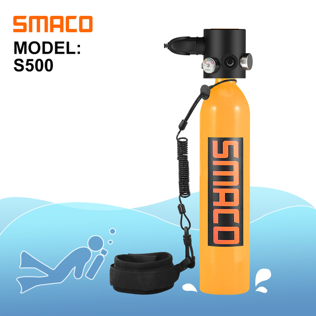 SMACO S500 Mini Scuba Diving Tank Equipment, Dive Cylinder with 13 Minutes Capability, 0.7Litre Capacity with Refillable Design
