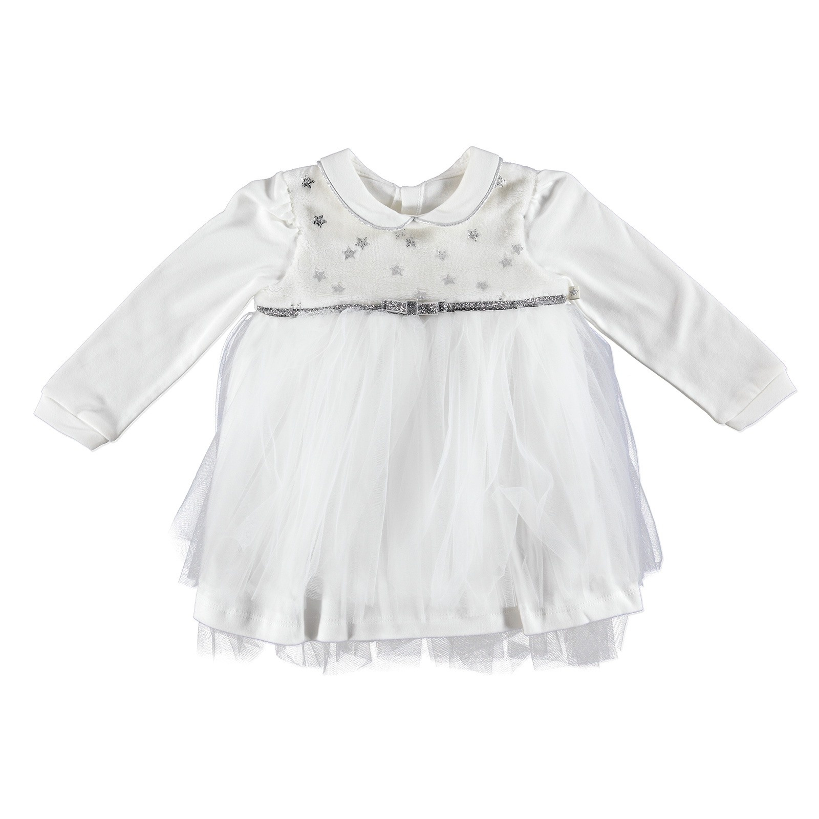 Ebebek Mymio Star Baby Girl Velvet Peter Pan Collar Dress Bodysuit