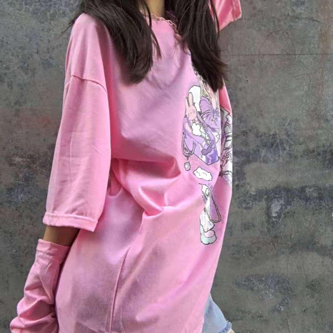 Harajuku Aesthetic Loose T-shirt with Anime print photo review