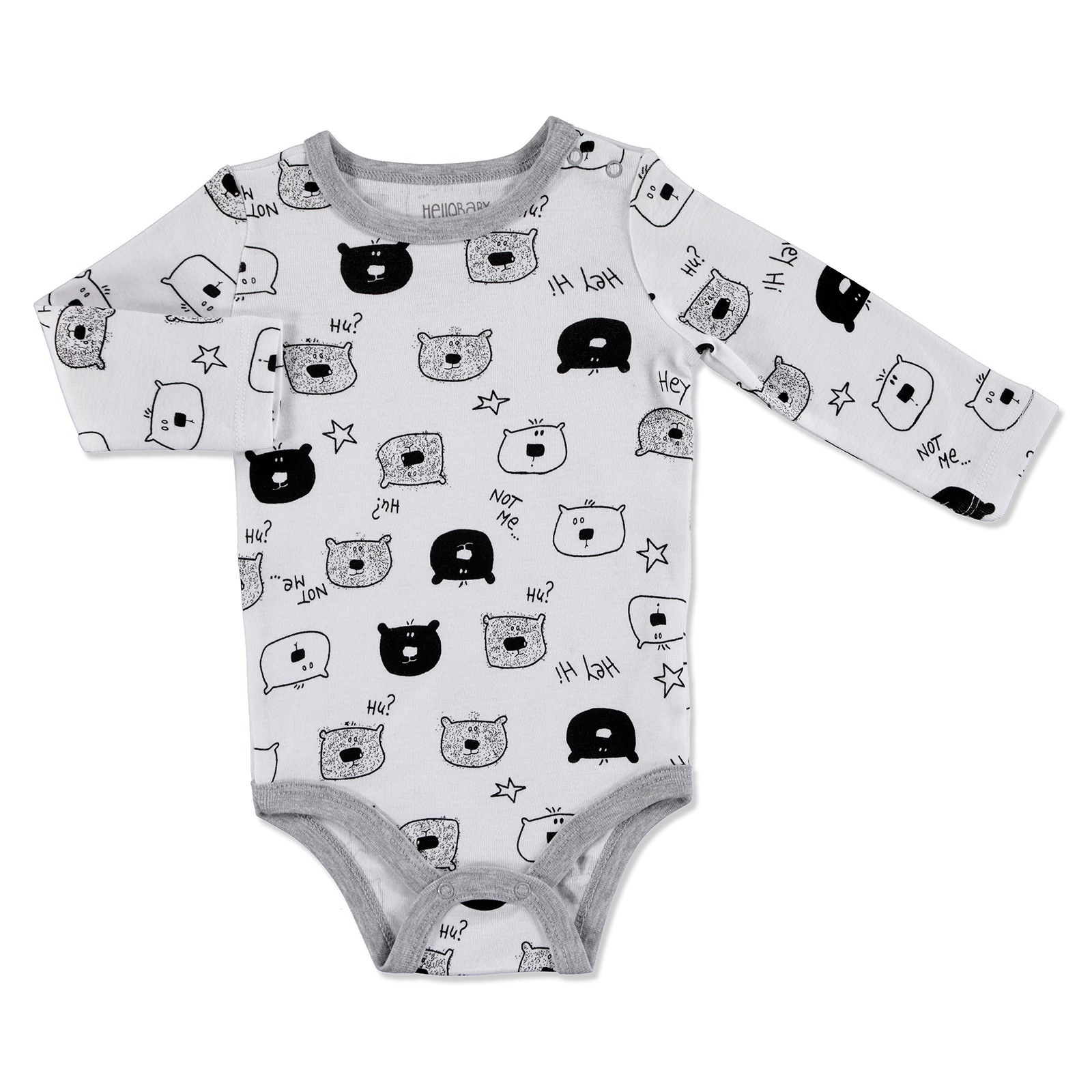Ebebek HelloBaby Baby Printed Long Sleeve Bodysuit