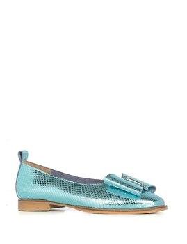 Ilvi-prawdziwej skóry ręcznie oliwkowe damskie baleriny turkusowe skórzane damskie buty 2020 wiosna lato (Made in Turkey)