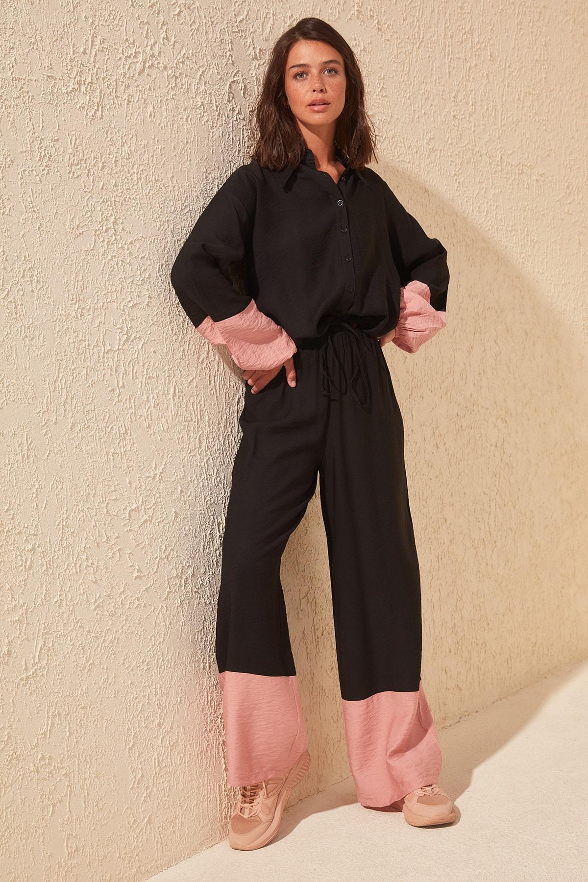 Trendyol With Color Block Pants TWOSS20PL0019
