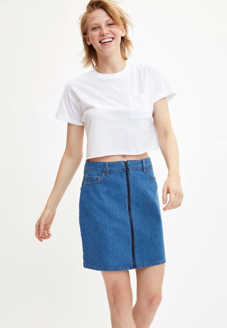 DeFacto Woman Fashion Blue Denim Skirt Casual Zipper High Waist Short Skirt Ladies Simple Jean Skirts Autumn Female L4871AZ19HS