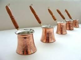 Turkish Coffee Pot, Cezve, Ibrik,Hand Hammered Copper Coffee Maker, Jezve Wooden