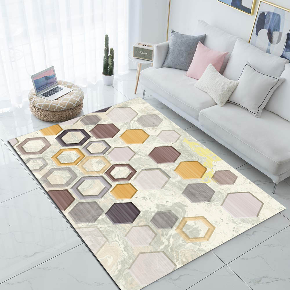 Else Beige Yellow Gray Brown Honeycomb 3d Print Non Slip Microfiber Living Room Modern Carpet Washable Area Rug Mat