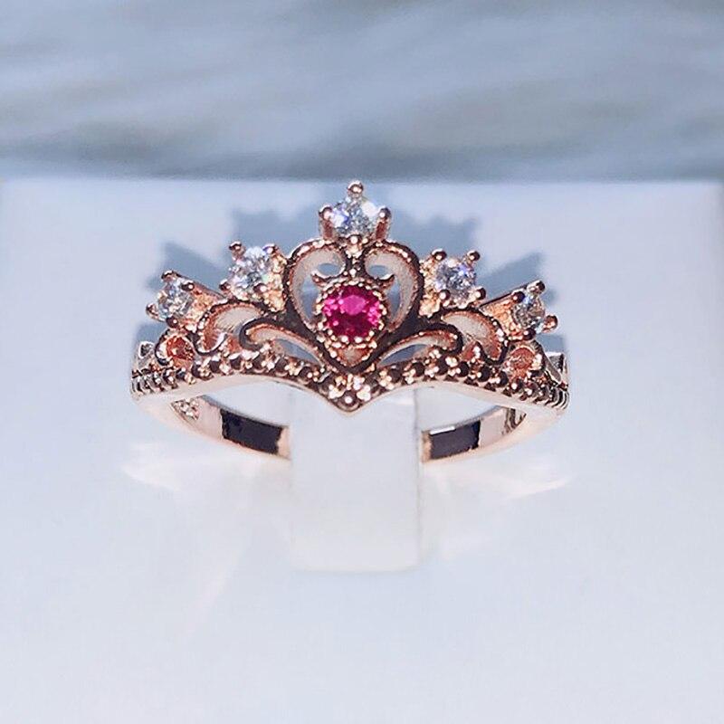 Кольца в виде короны принцессы для женщин, роскошные ажурные кольца цвета розового и белого золота, модные ювелирные изделия, подарок для де...