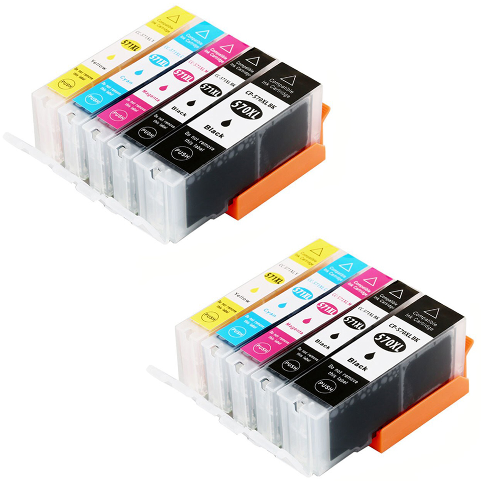 10 Ink Cartriges Model Pgi570 PGI 570 Cli5715-6 Cli57110-15-20 Compatible With Printers Pixma TS5050 TS5051 TS5053 TS5055