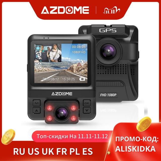 Original AZDOME GS65H Dash Cam Mini Dual Lens Car DVR Novatek 96655 Full HD 1080P Car Camera Night Vision For Uber Lyft Taxi