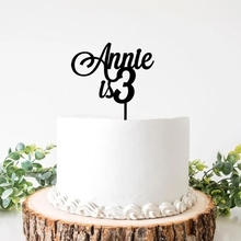 Personalized Wooden Happy Birthday Cake Topper ,Custom name and Age Cake Topper ,Elegant Birthday Party Decor