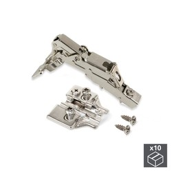 Lot of 10 hinges straight X91 Emuca opening 165 ° with soft closing and supplements Euro regulation eccentric