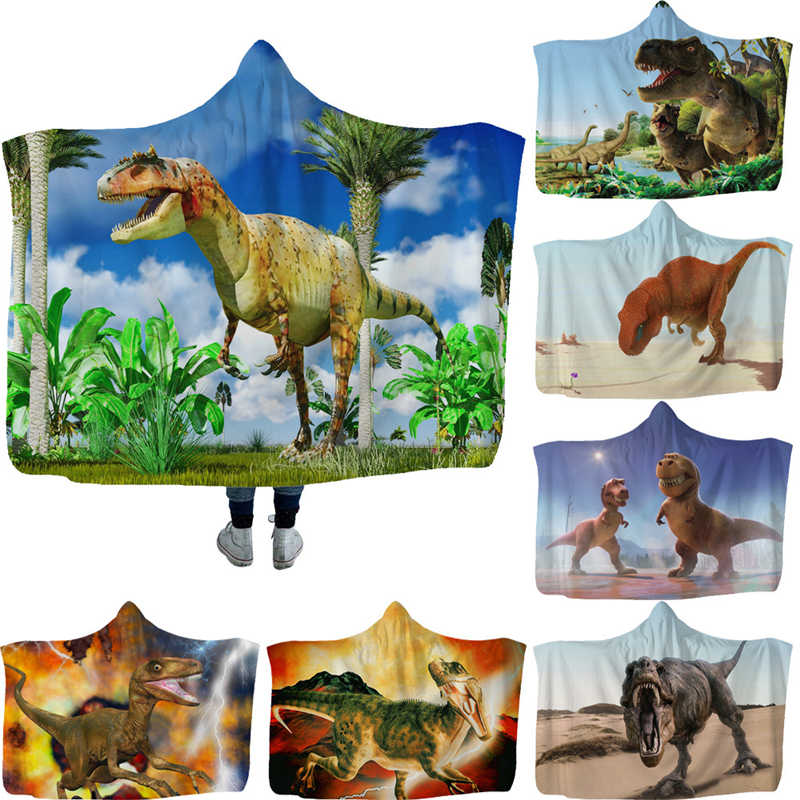 Jurassic Park Dinosaur Printed Plush Hooded Blanket For Adults Kid Warm Home sofa Wearable Double layer Fleece Throw Blankets