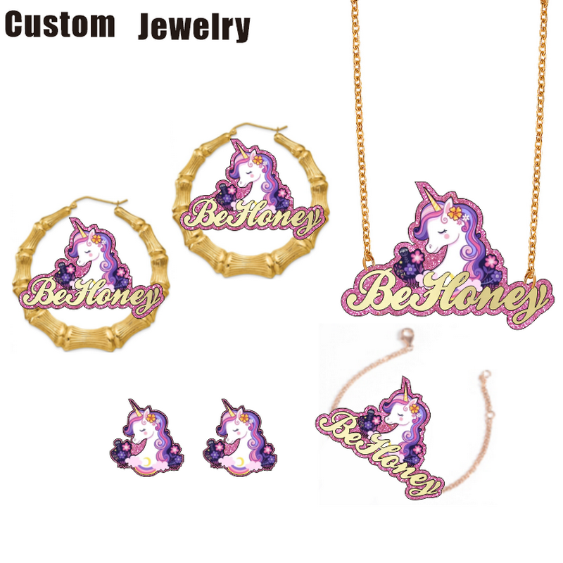 Be Honey Custom name character unicorn necklace kids bamboo earrings cartoon bracelet jewelry sets