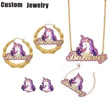 Ser cariño personalizado nombre carácter collar con unicornio niños de bambú, pendientes de dibujos animados de los niños conjunto de joyas