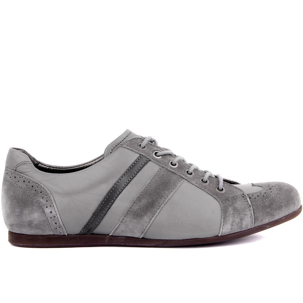 Sail Lakers-Gray Suede Leather Men 'S Shoes