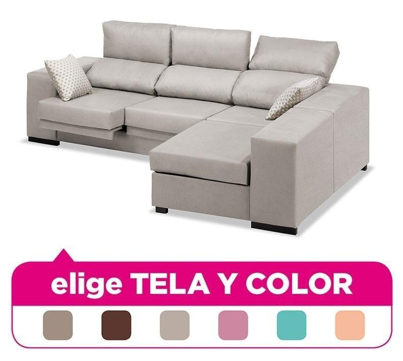 Sofa Chaise Longue, 3-4 Seats, Choose Fabric And Color Ref-74