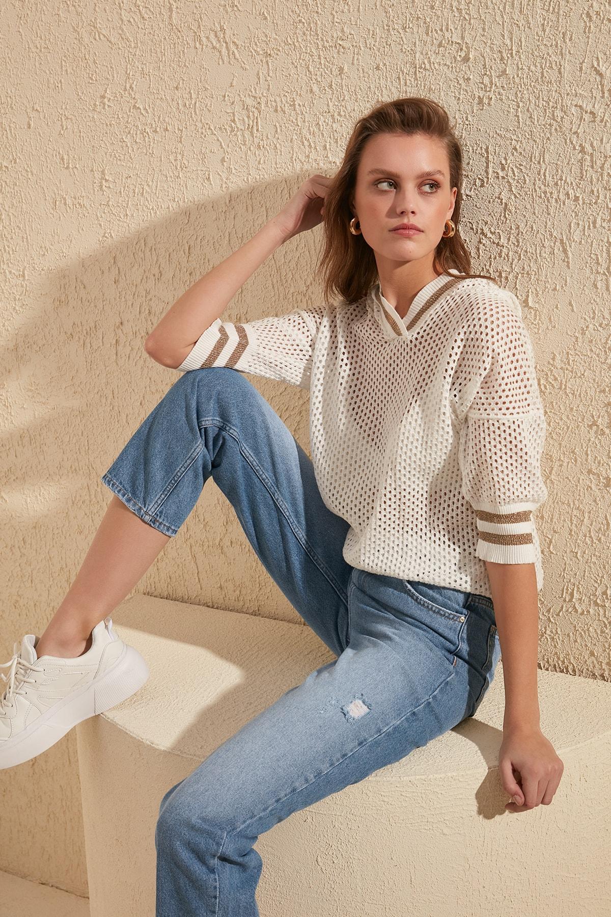 Trendyol Silvery Cellular Knitwear Sweater TWOSS20KZ0043