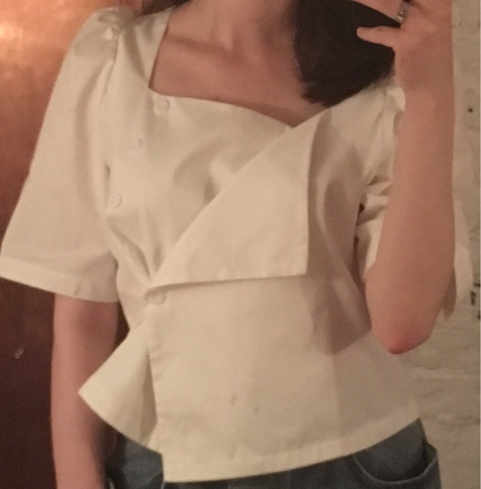 Korean Style Square Collar Short Shirt Women Summer Cotton Blouses And Tops Female Short Sleeve Women Clothes photo review