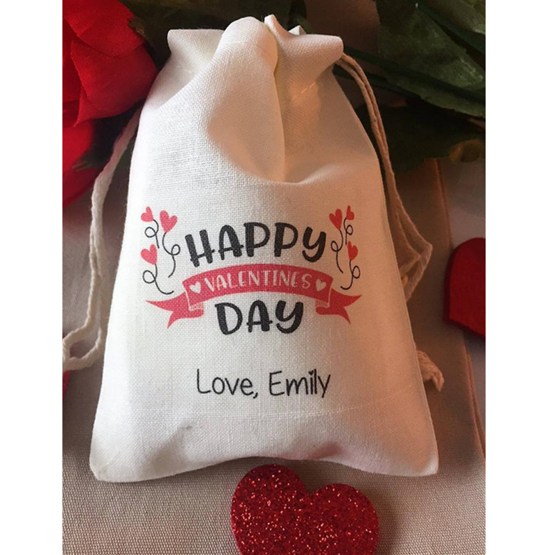 Happy Valentine Day Party Favor Bag Personalize Candy Bag Cotton Treat Bags Valentine Party Welcome Bags Birthday Drawstring Bag