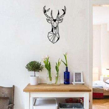 Decoración de pared de Metal con ciervos, decoración Interior del hogar, decoración de pared colgante para el hogar, arte de pared 90x54 cm