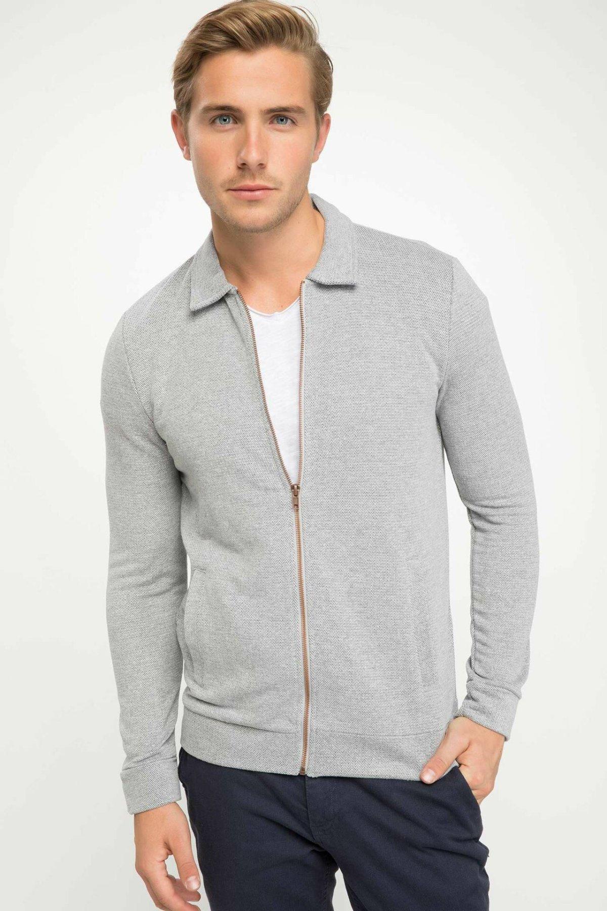 DeFacto Casual Man Lapel Cardigan Men's Fashion Solid Zipper Slim Coats Male Autumn Cotton Jackets New-J1849AZ18AU