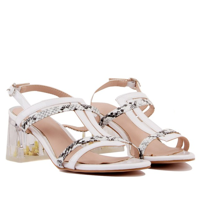 Guja-White Coloured Buckled Women Heeled Shoes