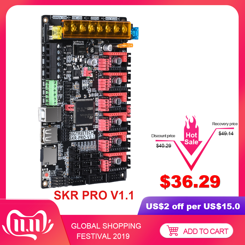BIGTREETECH SKR PRO V1.1 Control Board For TMC2209 TMC2208 UART TMC2130 SPI Update 32 Bit 3D Printer Board Double Z SKR V1.3 CNC