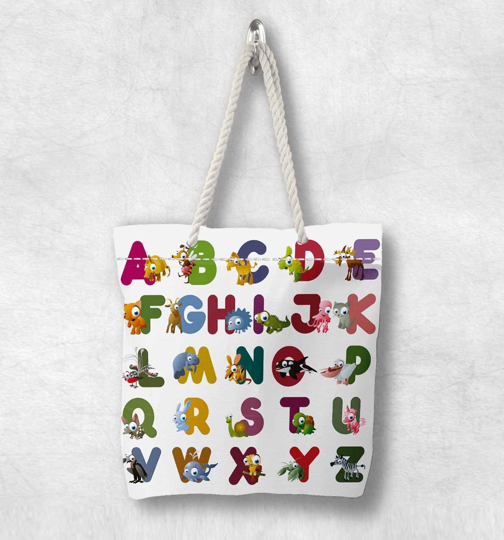 다른 귀여운 재미 있은 알파벳 편지 동물 새로운 패션 화이트 로프 핸들 캔버스 가방 만화 인쇄 지퍼가 달린 토트 백 숄더 백