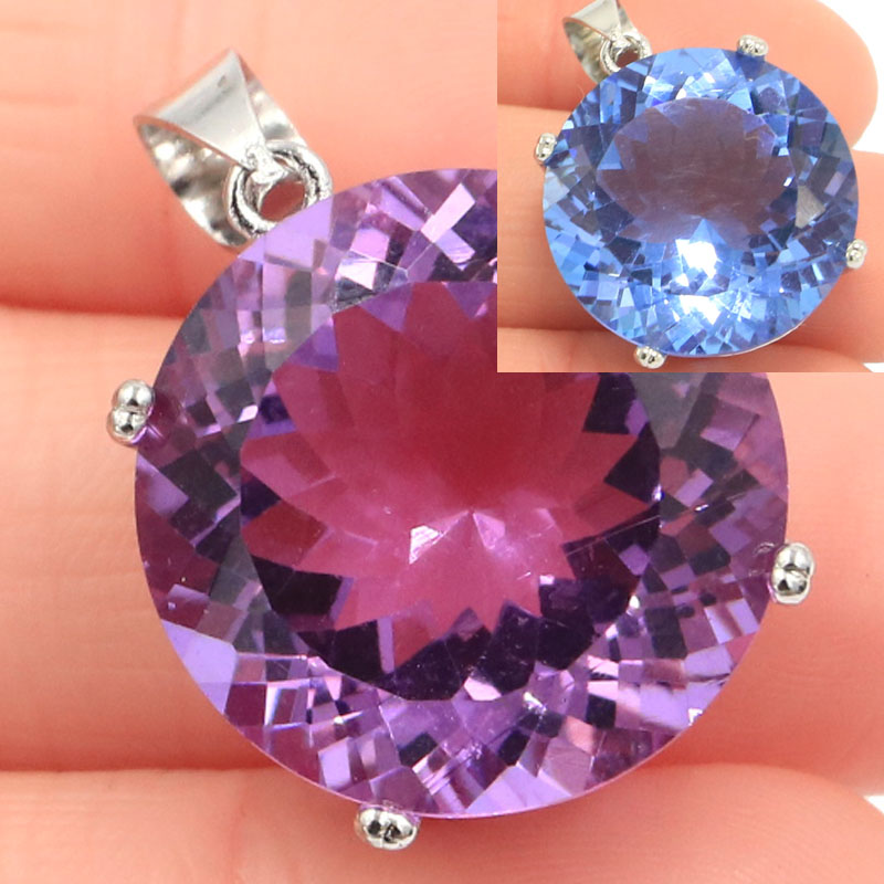 30x20mm Big Round 20mm Gemstone Created Color Changing Alexandrite & Topaz Gift For Woman's Jewelry Making Silver Pendant