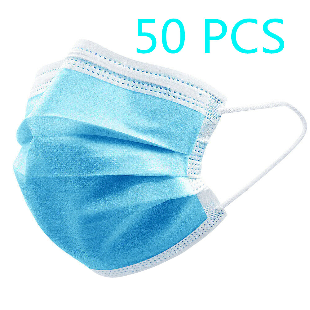 50 Pcs Disposable Face Masks Non-woven 3 Layers Anti-dust Mouth Mask