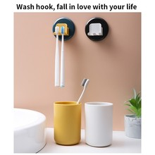 цена на Toothbrush Holder Mouthwash Cup Free Punch Wall-Mount Rack Bathroom Organizer Accessories Set Toothbrush Holder with Cup