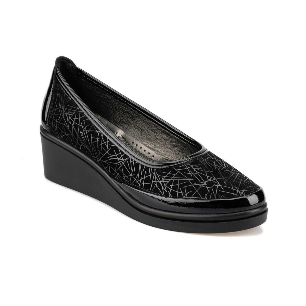 FLO 92.151038SZ Black Women 'S Wedges Shoes Polaris