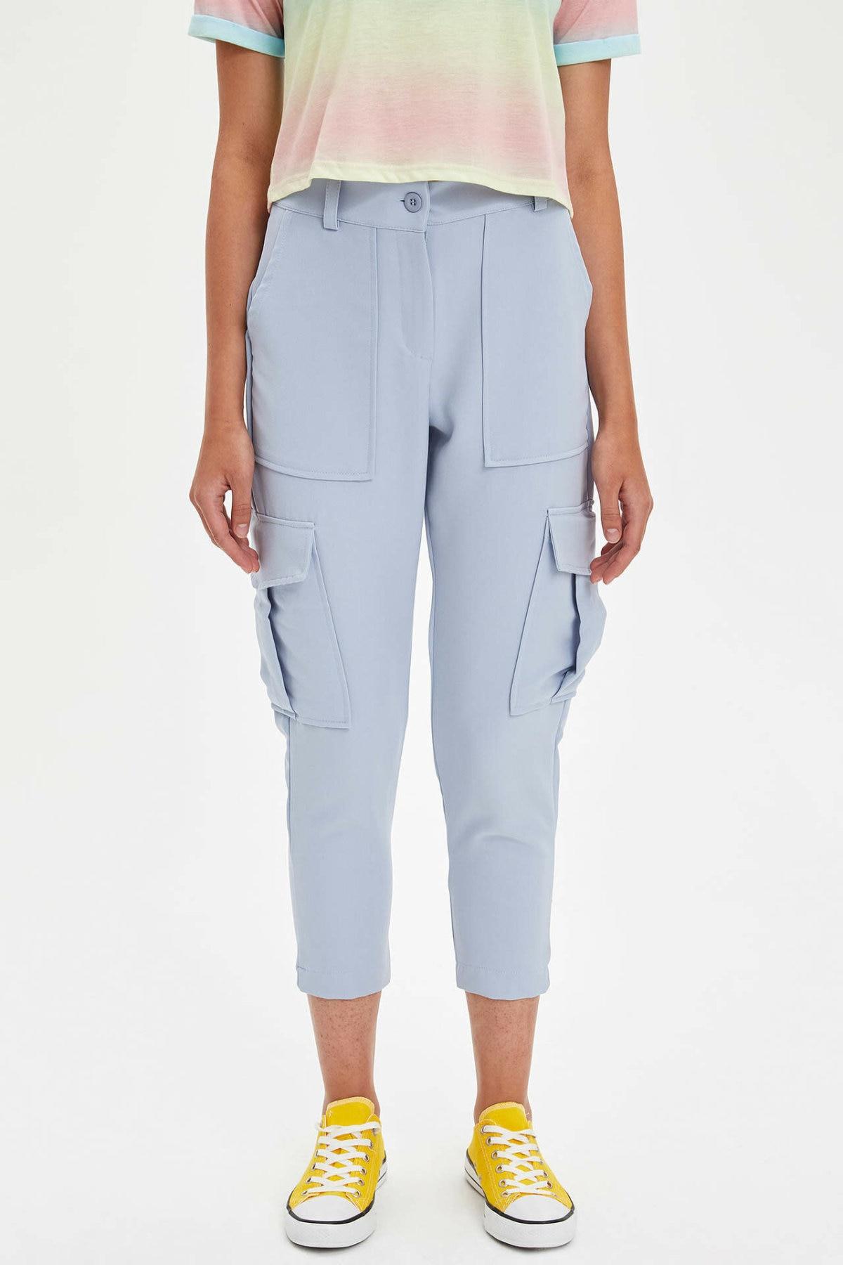 DeFacto Woman Summer Solid Color Long Pants Women Cargo Pants Female Blue Pink Bottoms Lady Trousers-L3541AZ19SM