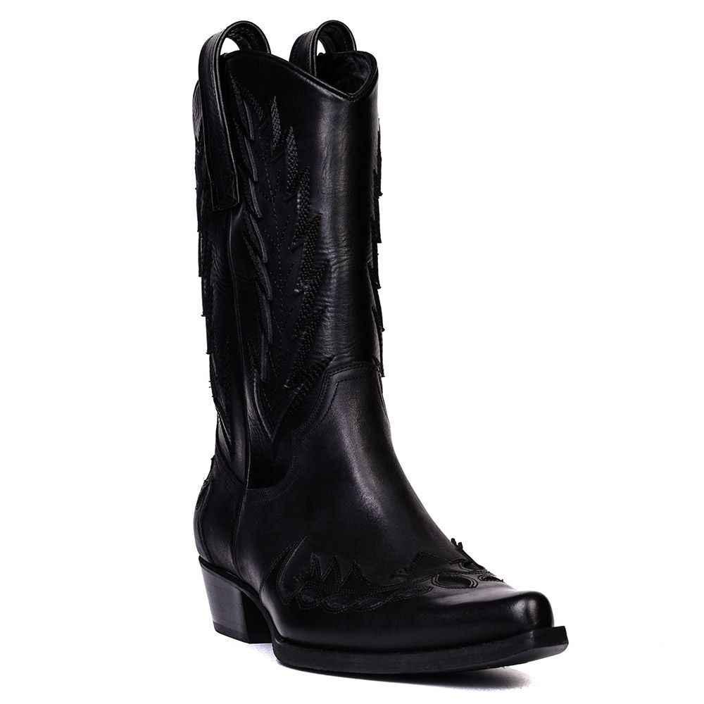 FootCourt Black Texas Boots Genuine