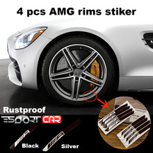 4pcs  AMG emblem Rim sticker for Mercedes Benz  16-20 Rims 3D Domed  Aluminum 3D sticker No rusty Car wheel rim sticker injora 4pcs wheel rim