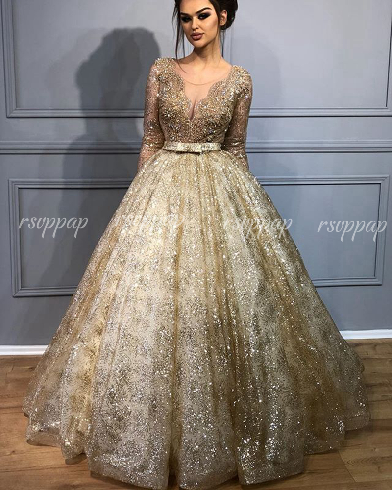 Sexy Glitter Ball Gown Long Sleeve Women Party Formal Gowns Lebanon Design Gold Sequin Dubai Ladies Evening Dresses 2019